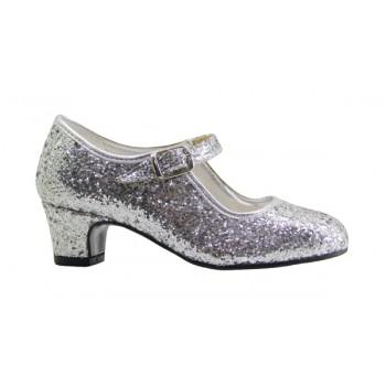 Zapato de Flamenca Glitter Plata