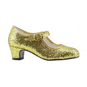 Zapato de Flamenca Glitter Oro