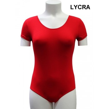 Red Maillot Short Sleeve Lady Lycra