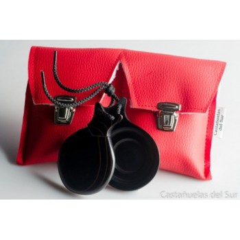 Castañuela Profesional Fibra negra Veteado Roja