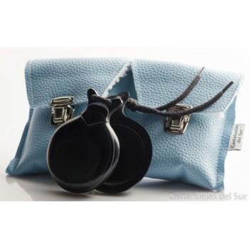 Castañuela Capricho Tela Negra Veteada Azul y Blanca