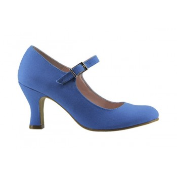 Blue Canvas Flamenco Shoe