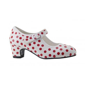 White with red polka dots Flamenca leatherette shoe