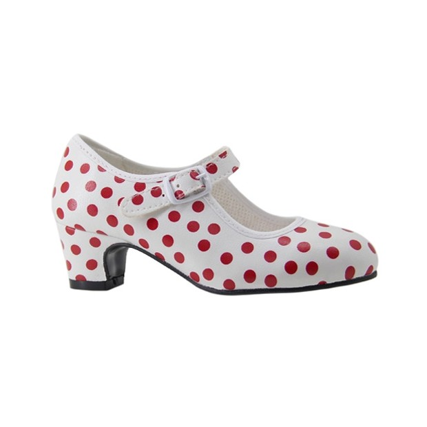 Flamenco Shoes in White Polyester with Red Polka Dots