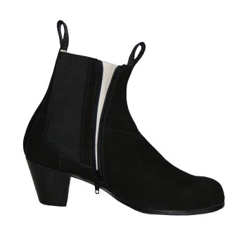 Professional Black Suede Zipper Boot
