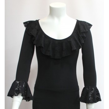 Black Flamenco Top Lace Ruffles