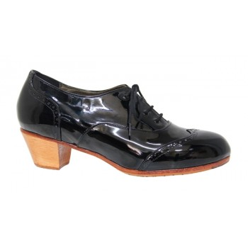 Black Patent Leather Flamenco Professional Shoe Pala Vega