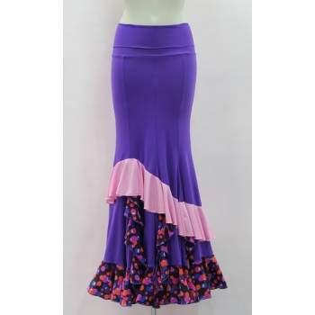 Purple Flamenco skirt with polka dot ruffles