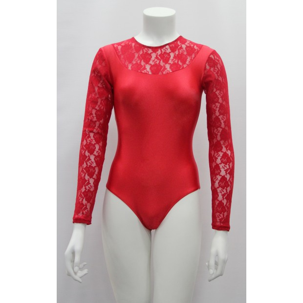 Red Flamenco Maillot with Lace Lady