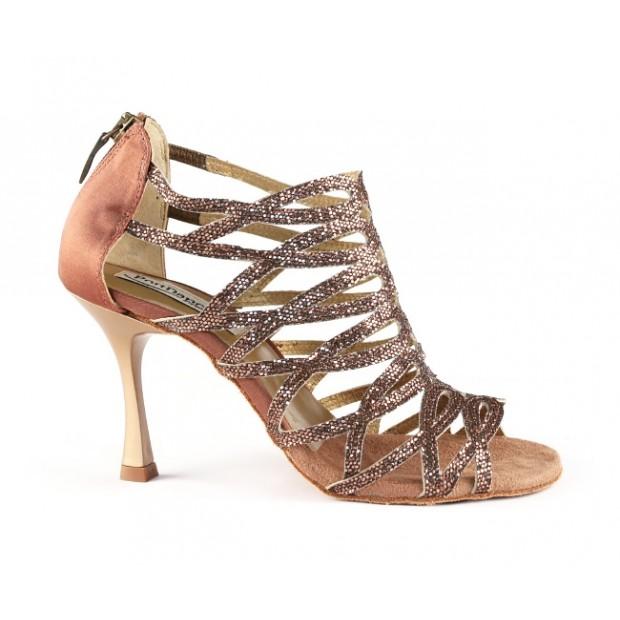 Shoe for Ballroom Dance many strips Bronze