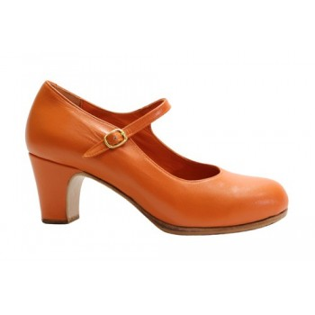 Orange leather professional shoe with buckle