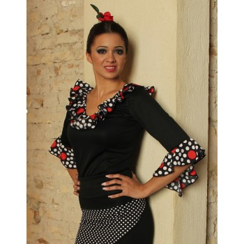 Top Flamenco Negro Volantes