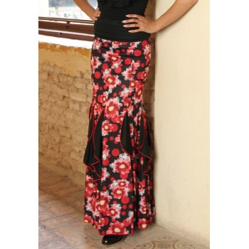 Floral Print Flamenco Skirt