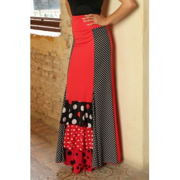 Red Flamenco skirt with polka dot ruffles