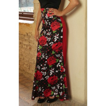 Red Floral Print Flamenco Skirt