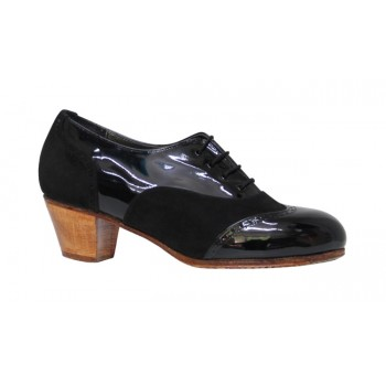 Professional Flamenco Shoes Combined Patent Leather and Black Suede