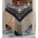 Black Shawl Hand Embroidered Flowers and Fringes Beige 135 cm