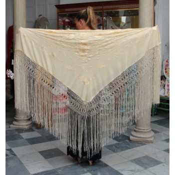 Beige Shawl Hand Embroidered Flowers and Beige Fringes 135 cm.
