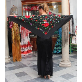 Black Shawl Flowers Hand Embroidered 115 cm.
