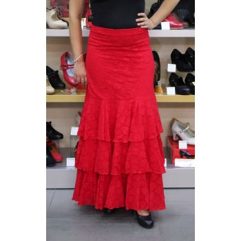 Red lace flamenco dance skirt