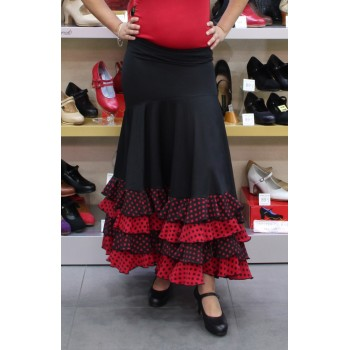 Black flamenco skirt with mixed polka dots