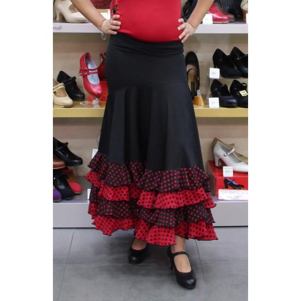 Black flamenco skirt with mixed polka dots