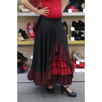 Black flamenco skirt with polka dot ruffles combined