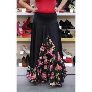 Black flamenco skirt with floral ruffles
