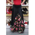 Black flamenco skirt with floral ruffles