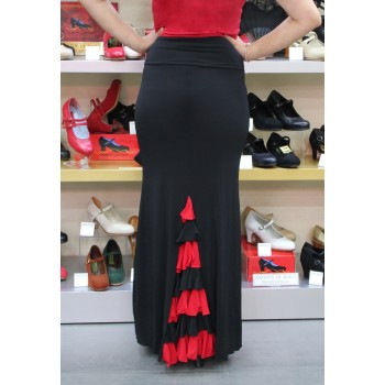 Black Flamenco Skirt with Combined Ruffles