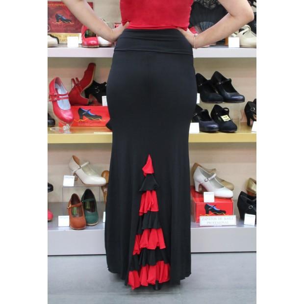Black Flamenco Skirt with Combined Ruffles
