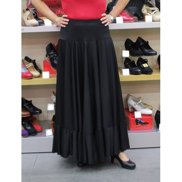 Black flamenco skirt with layer and ruffle