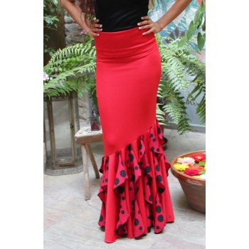 Flanked Red Flamenco Skirt