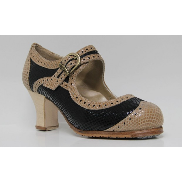 Combined Black and Beige Leather Flamenco Dance Shoe