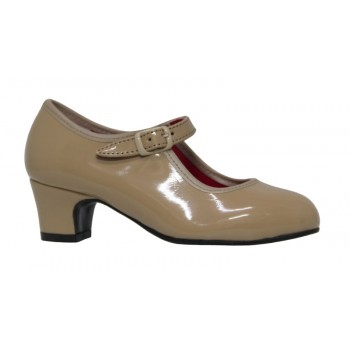 Beige Patent Leather Flamenco Shoe