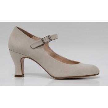 Flamenco Shoe Beige Synthetic Suede
