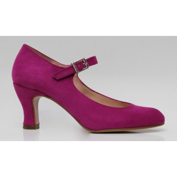 Fuchsia Flamenco shoe in synthetic suede