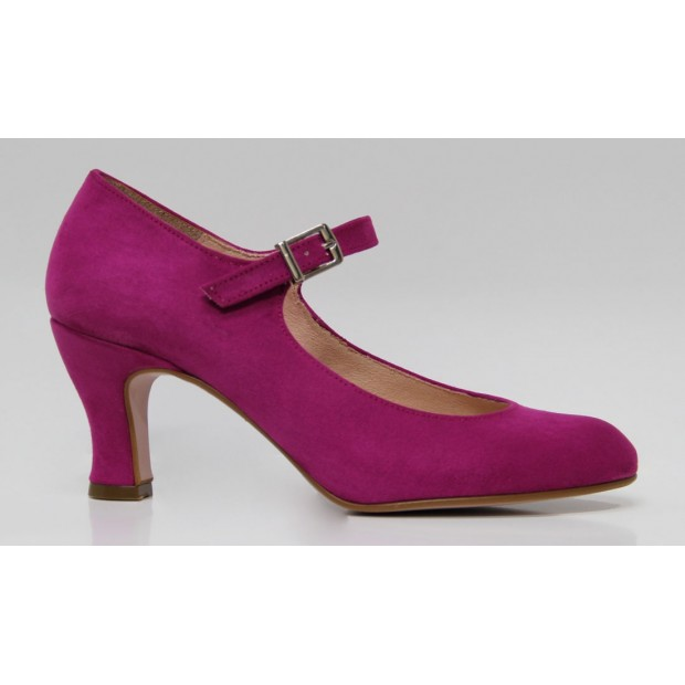 Fuchsia Flamenco shoe in synthetic suede
