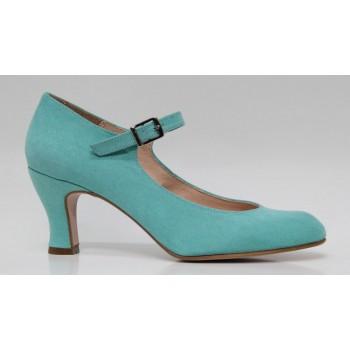 Flamenco Shoe Synthetic Suede Green Water