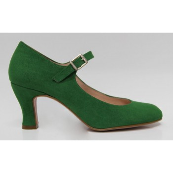 Flamenco Shoe Green Synthetic Suede Andalusia