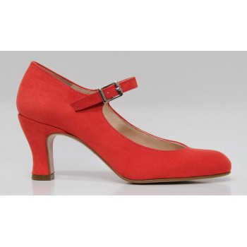Flamenco Shoe Synthetic Suede Coral Red