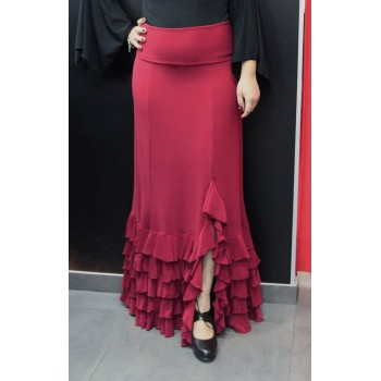 Red flamenco skirt with five ruffles