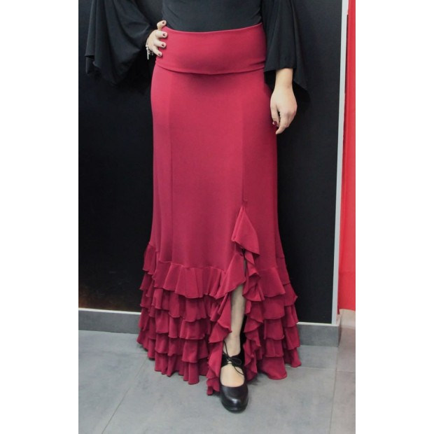 Red-garnet flamenco skirt with five ruffles