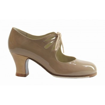 Professional Beige Patent Leather with Laces