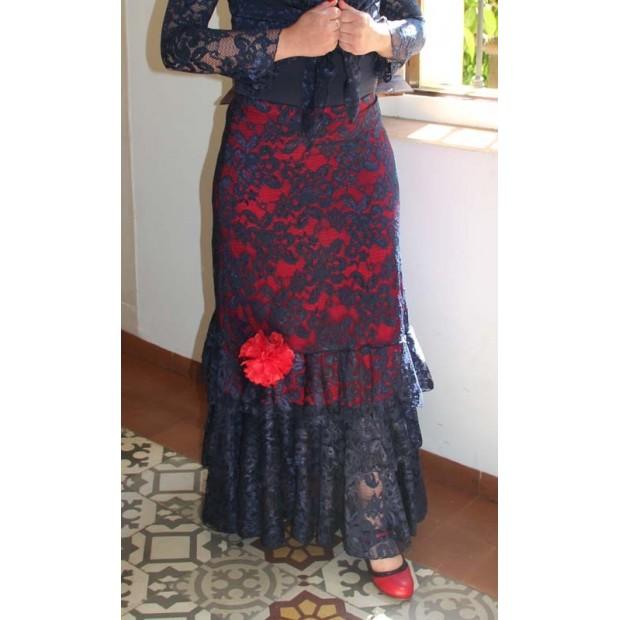 Flamenco skirt Taranto Blue Red background