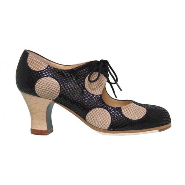 Black and Beige Fantasy Professional Flamenco Dance Shoe