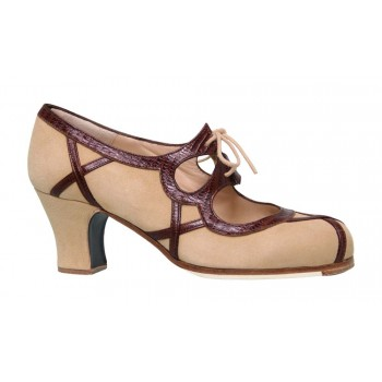 Professional Shoe Beige Suede and Brown Coconut Leather with Laces