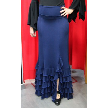 Blue flamenco skirt with five ruffles
