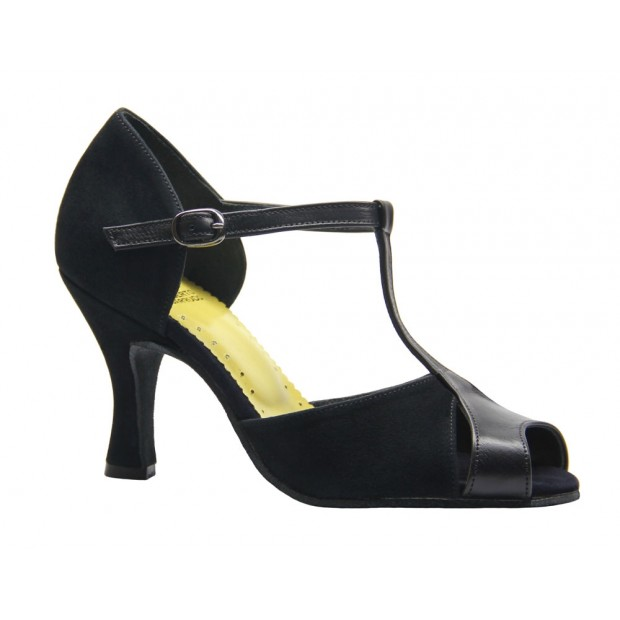 Shoe for Ballroom Combined Leather and Suede Black