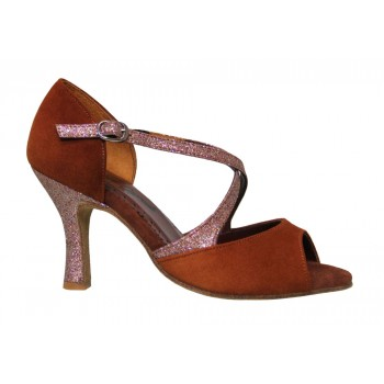 Shoe for Ballroom Combined Brown Suede and Glitter